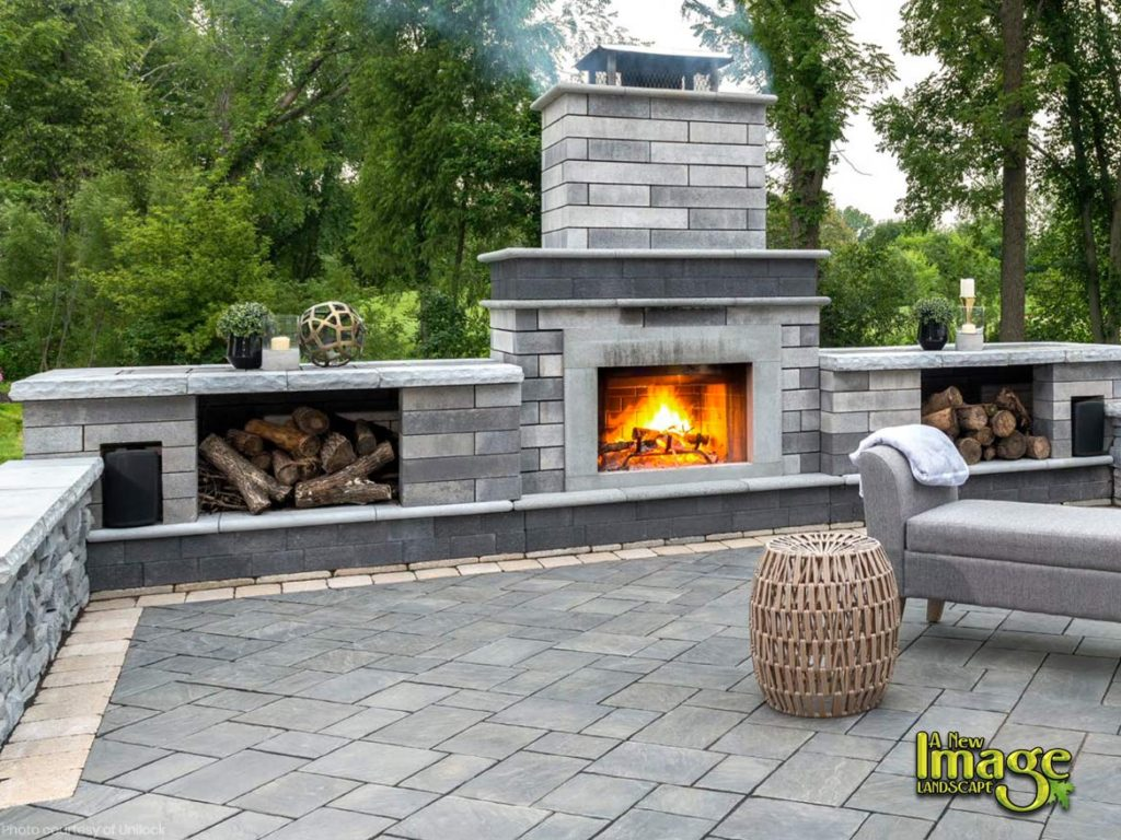 outdoor living spaces with fireplace small unilock paver patio outdoor fireplace outdoor living spaces living spaces kitchens fireplaces ovens
