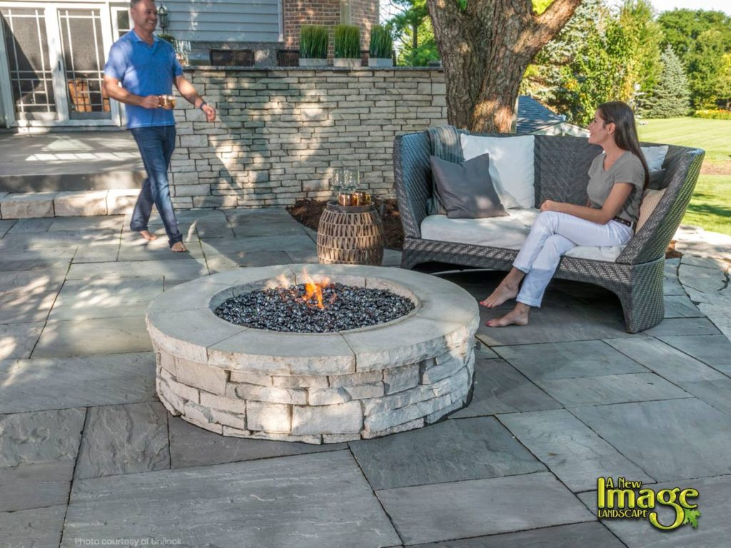 paver patio with gas fire pit. Unilock Paver Patio With Gas Firepit. Fire Pit
