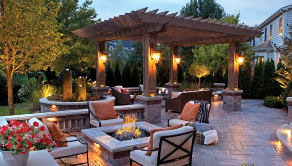 Outdoor living space with pegola